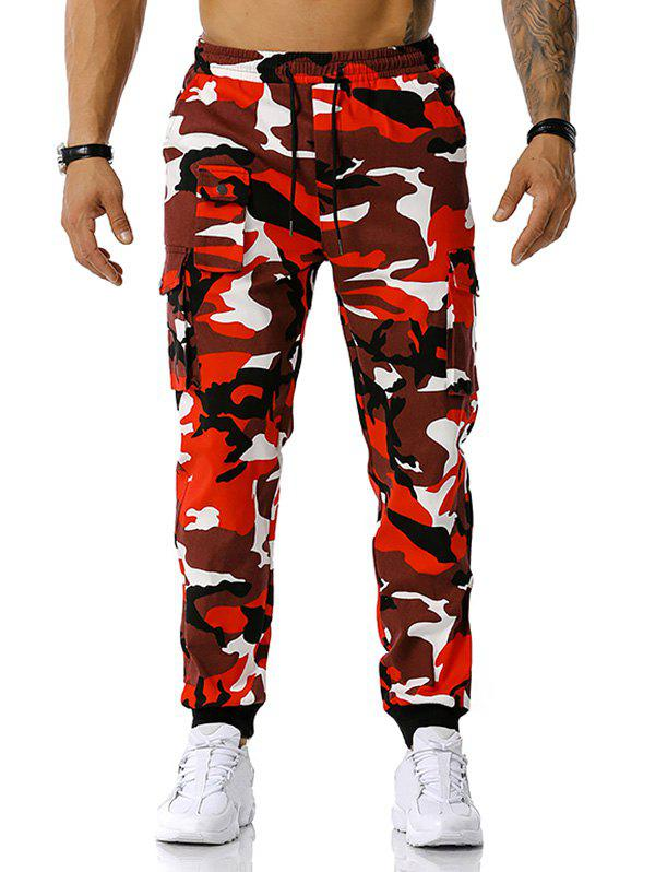 Fancy Drawstring Camouflage Print Cargo Pants