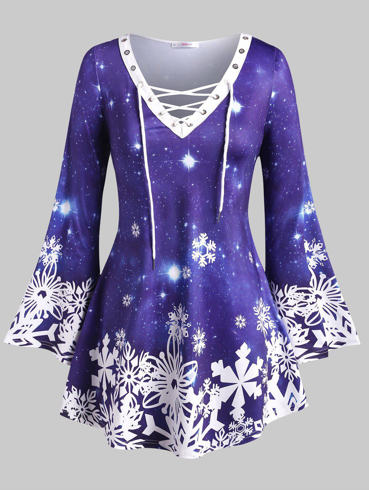 Latest Lace Up Galaxy Snowflake Christmas Plus Size Top