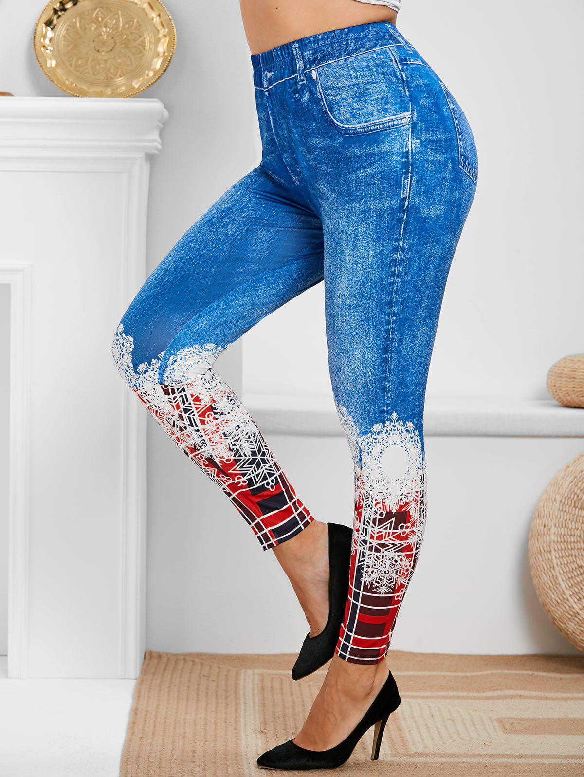 Store Plus Size Christmas Plaid Snowflake Print Jeggings