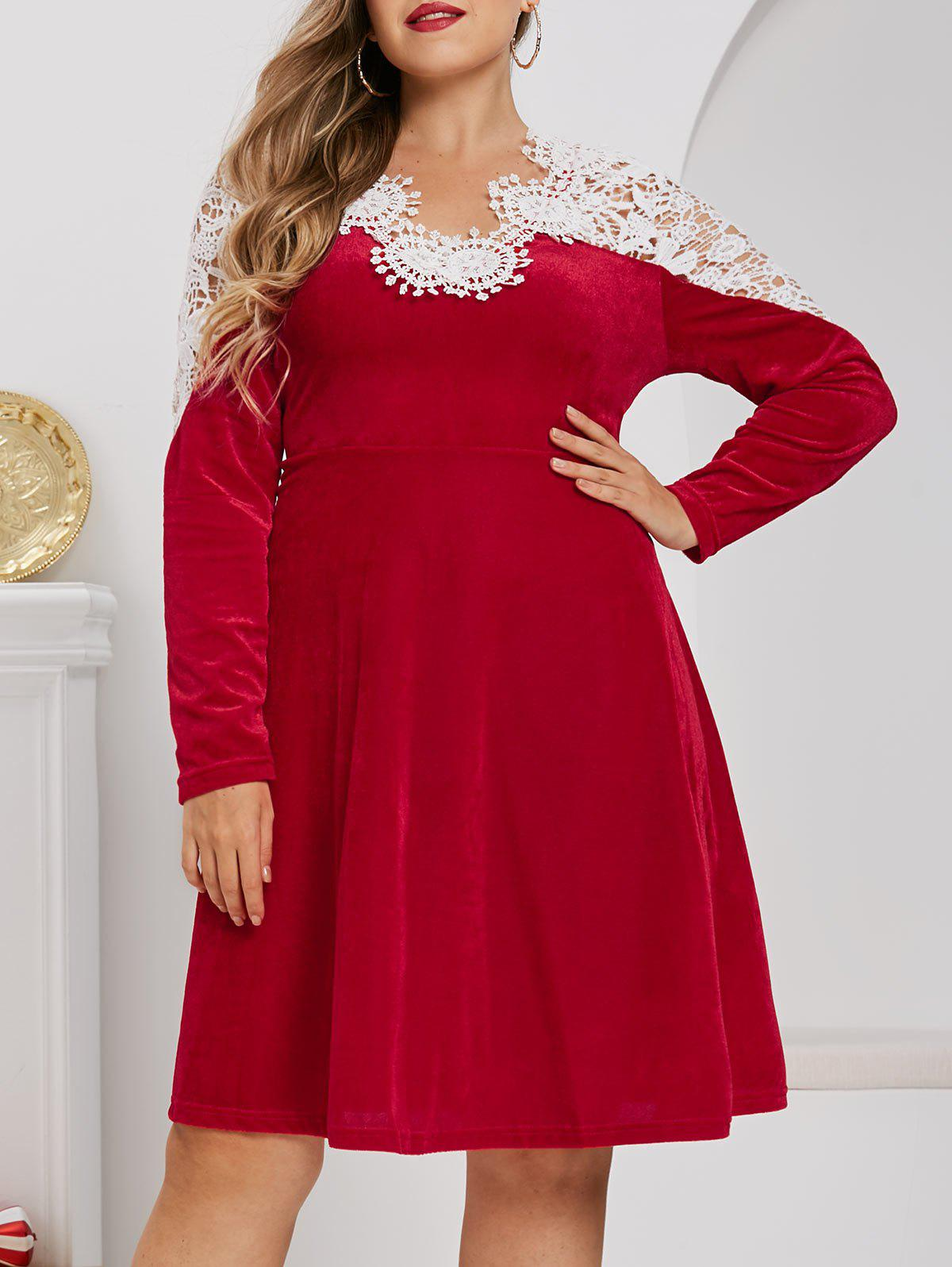 Store Plus Size Velvet Christmas Applique Panel A Line Dress
