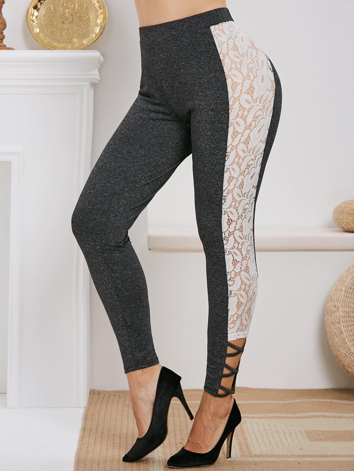 Sale Heathered Lace Panel Lattice Side Plus Size Leggings