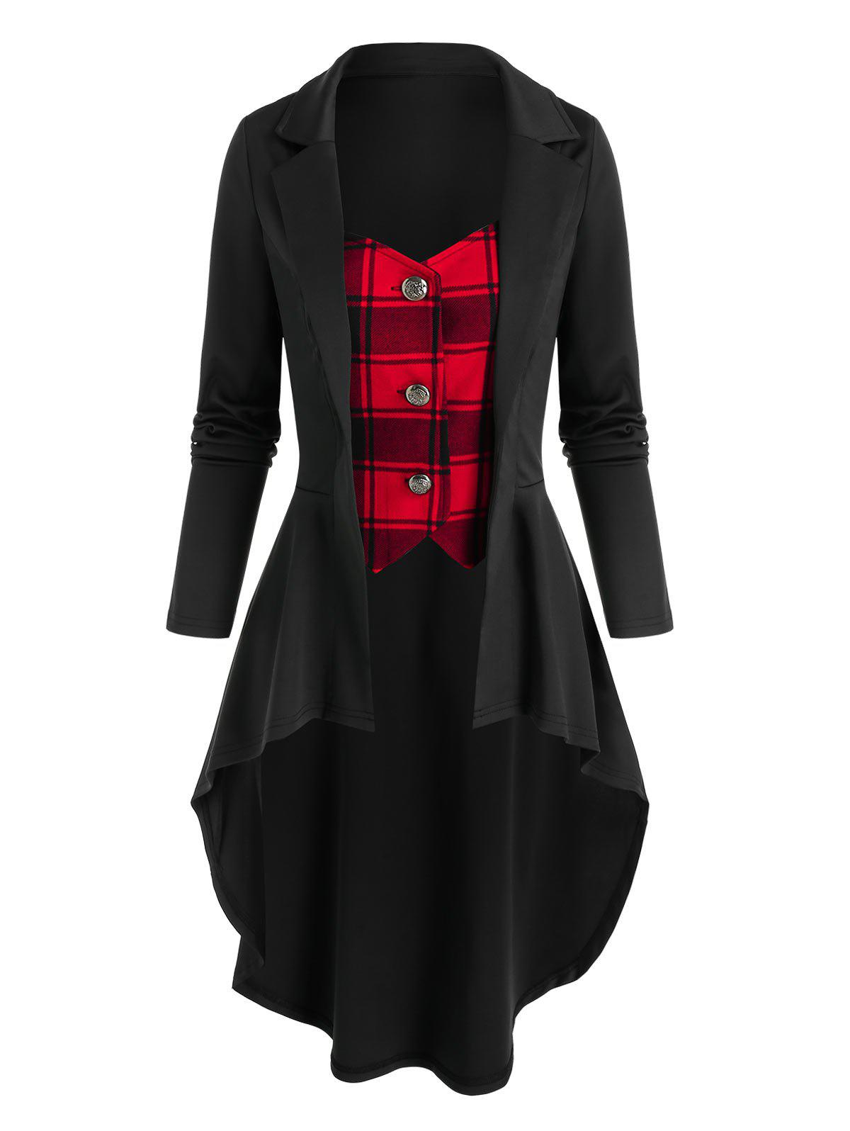 Store Plaid Pattern Faux Twinset High Low Skirted Coat