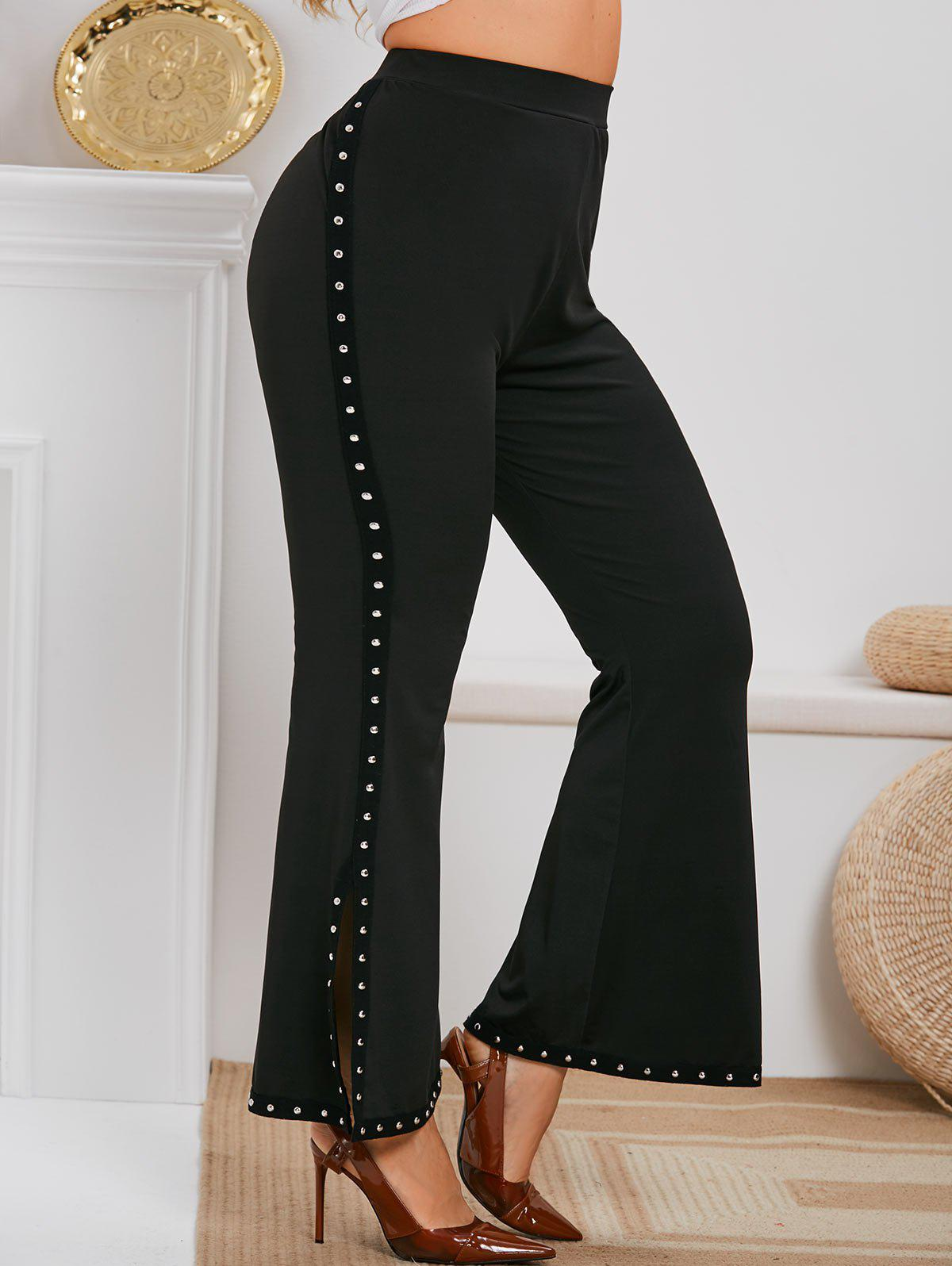 Online Plus Size Rivet Embellished Side Slit Flare Pants