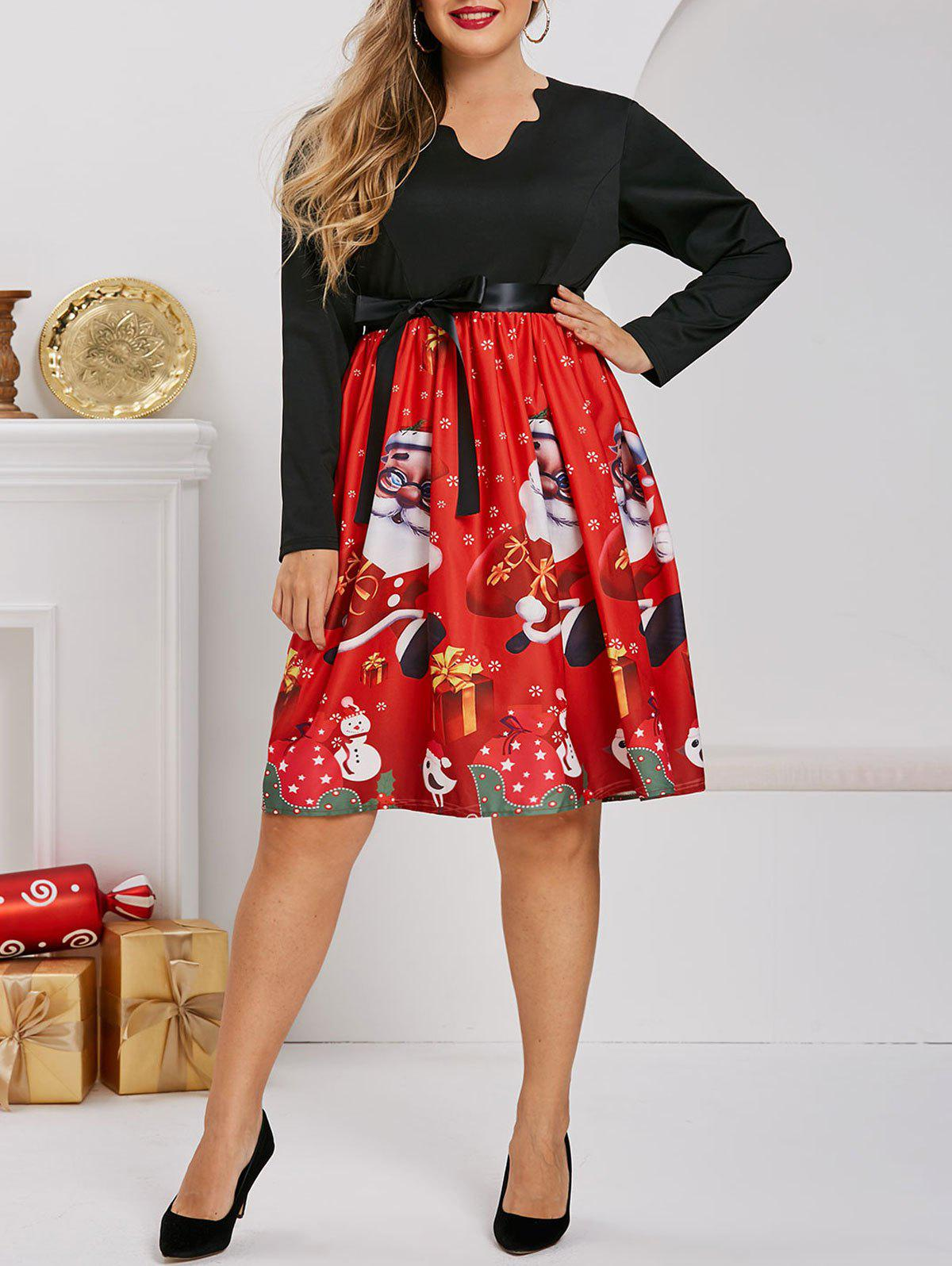 Latest Scalloped Santa Claus Snowman Snowflake Christmas Plus Size Dress