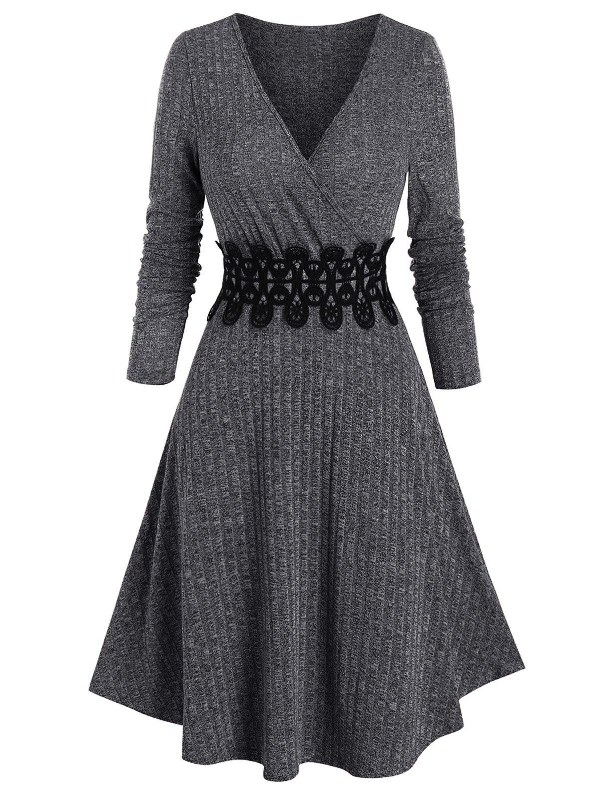 Shops Ribbed Applique A Line Wrap Knitted Dress