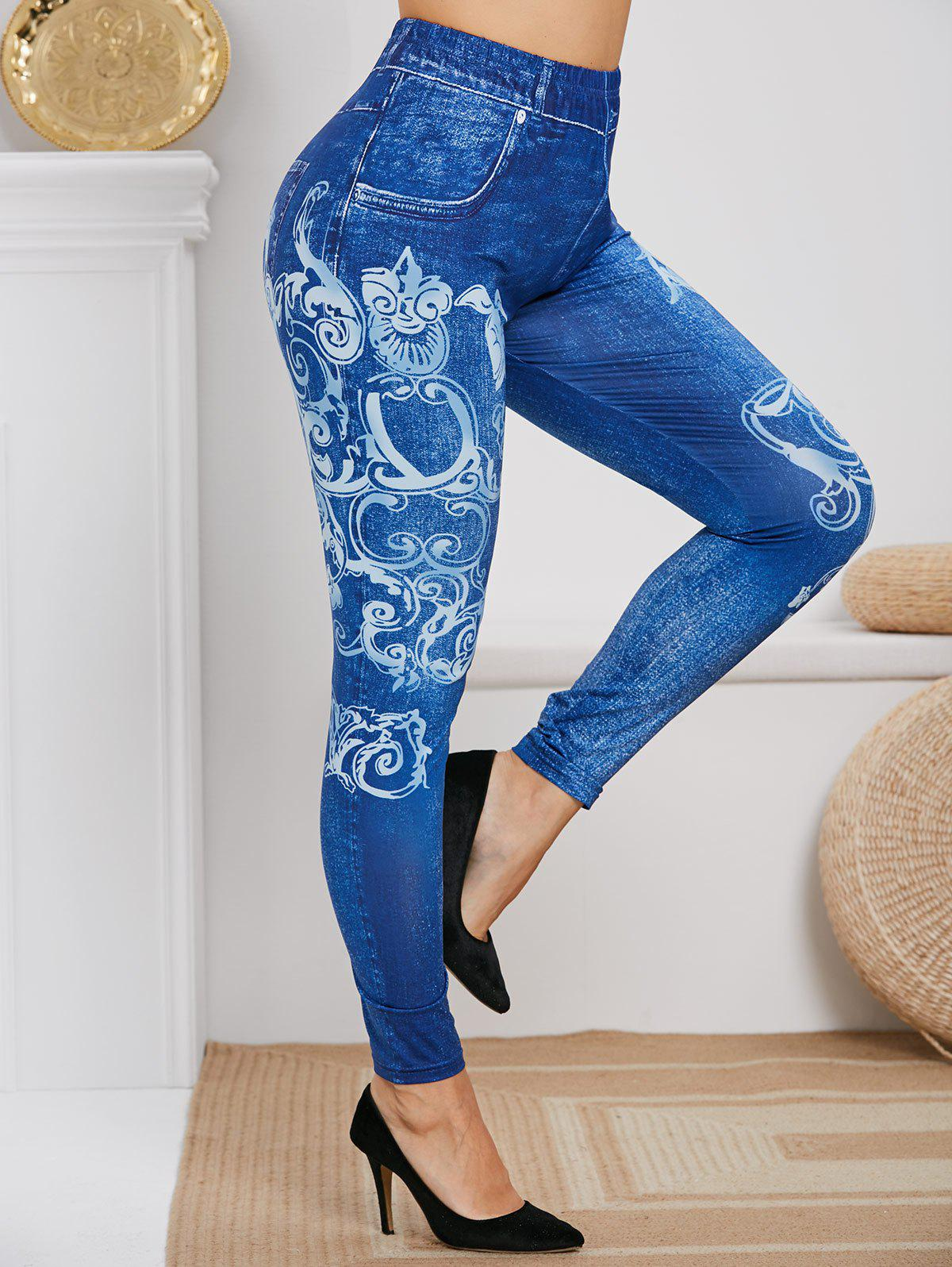 Online Plus Size High Rise Tribal Print Skinny Jeggings