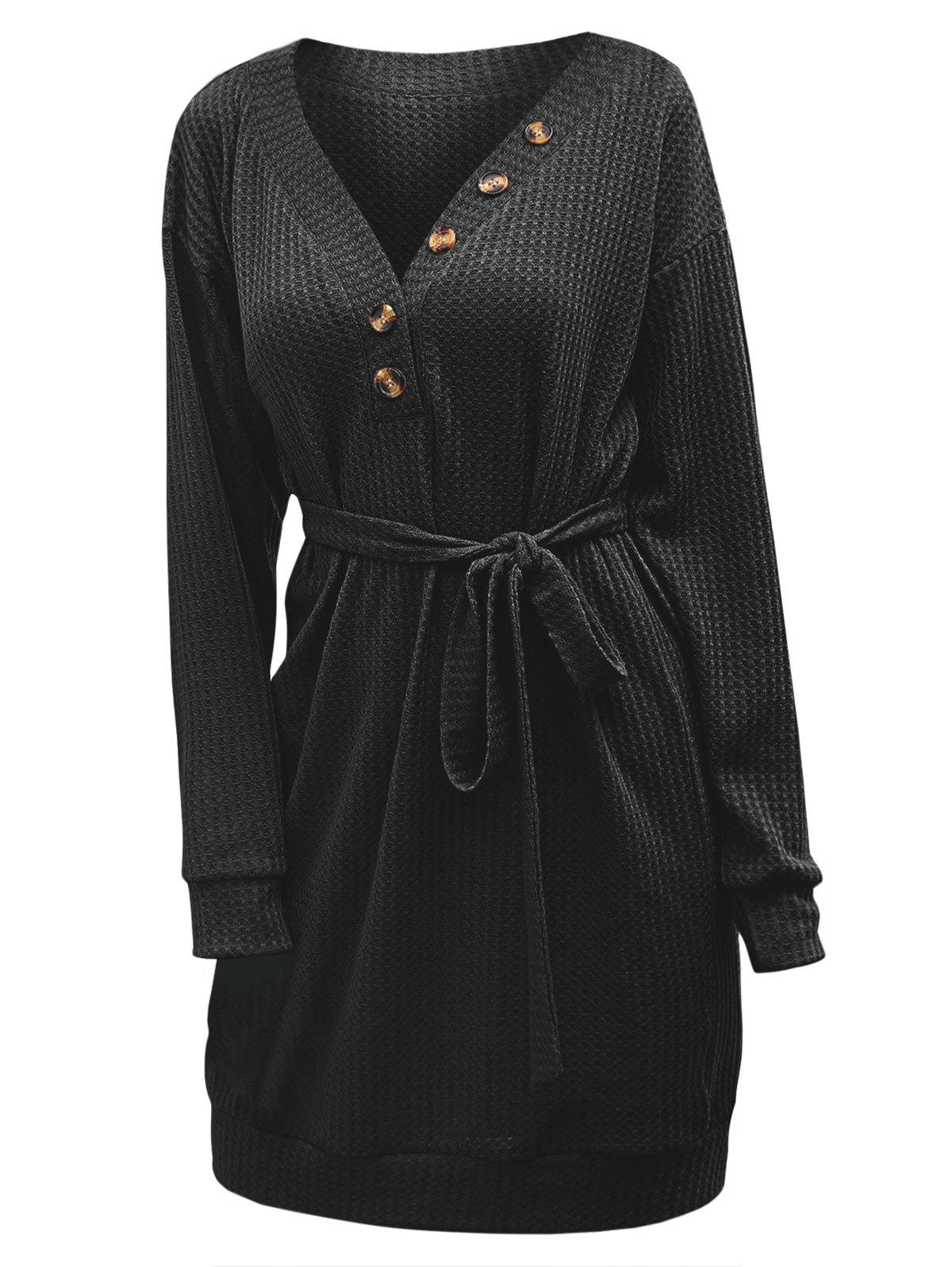 Store Mock Button Knitted Belted Drop Shoulder Mini Dress