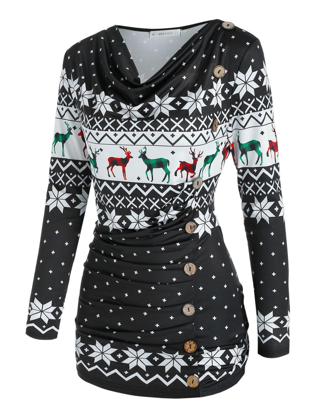 Best Cowl Neck Christmas Snowflake Elk Print Ruched T Shirt