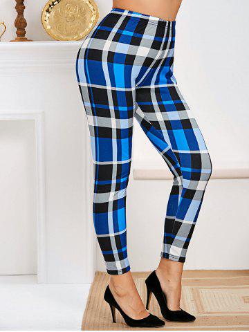 Plus Size High Rise Plaid Tapered Pants - BLUE - 3X