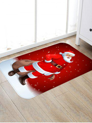 Santa Claus Print Christmas Decoration Floor Mat - LAVA RED - W16 X L24 INCH
