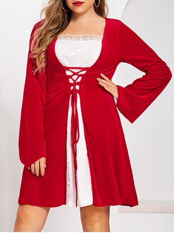 Plus Size Christmas Velvet Lattice Flare Sleeve Lace Bicolor Dress - LAVA RED - 5X