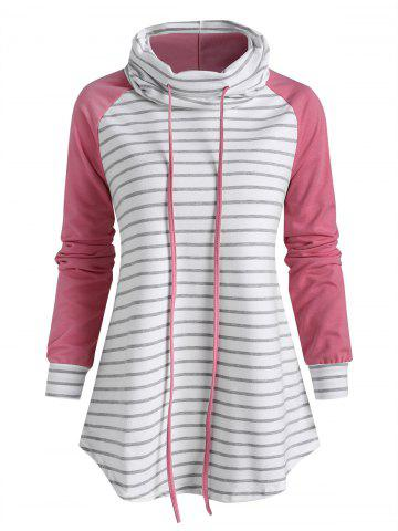 Striped Funnel Neck Raglan Sleeve Sweatshirt - LIGHT PINK - L