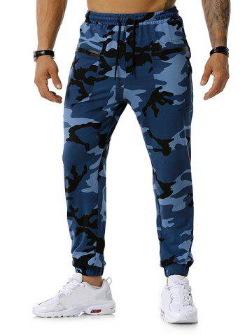 Camouflage Print Zipper Pockets Sports Pants