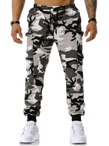 Zipper Pockets Camouflage Print Cargo Pants - GRAY - XXL