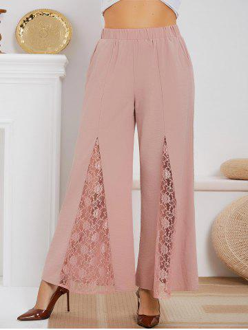 High Waisted Lace Panel Plus Size Boot Cut Pants - LIGHT PINK - 2X