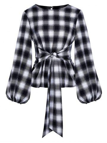Plaid Waist Tie Lantern Sleeve Blouse - BLACK - L
