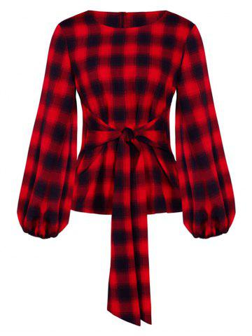 Plaid Waist Tie Lantern Sleeve Blouse