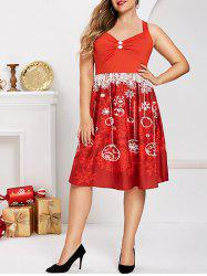 Plus Size Christmas Snowflake Criss Cross Ruched Flared Dress -