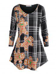 Plus Size The Gingerbread Man Print Checkered T Shirt -