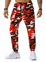 Camouflage Print Zipper Pockets Sports Pants -