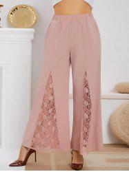 High Waisted Lace Panel Plus Size Boot Cut Pants -