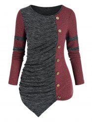 Ruched Two Tone Irregular Knitwear -