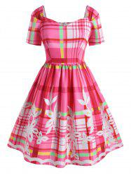 Plus Size Vintage Plaid Flower Sweetheart Dress -