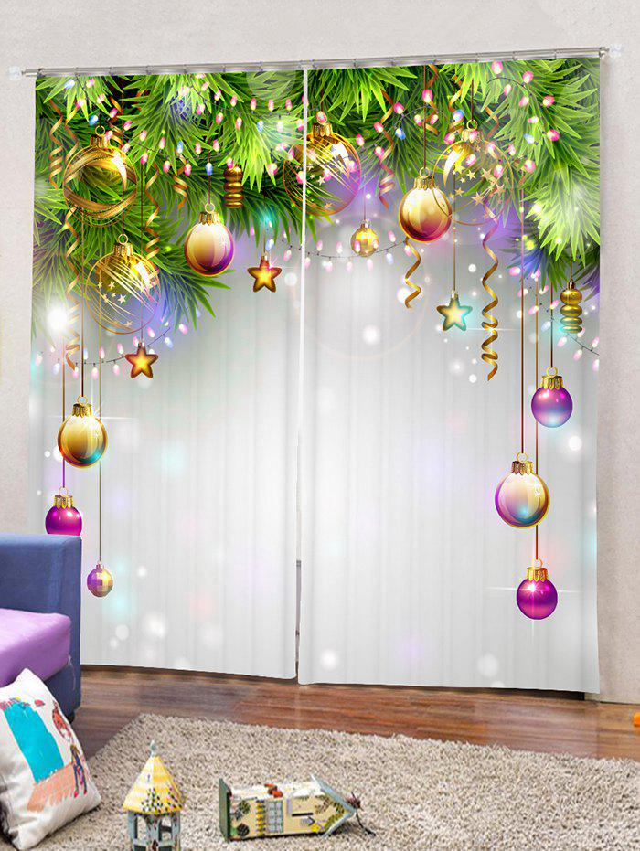 Unique 2 Panels Print Christmas Balls Window Curtains