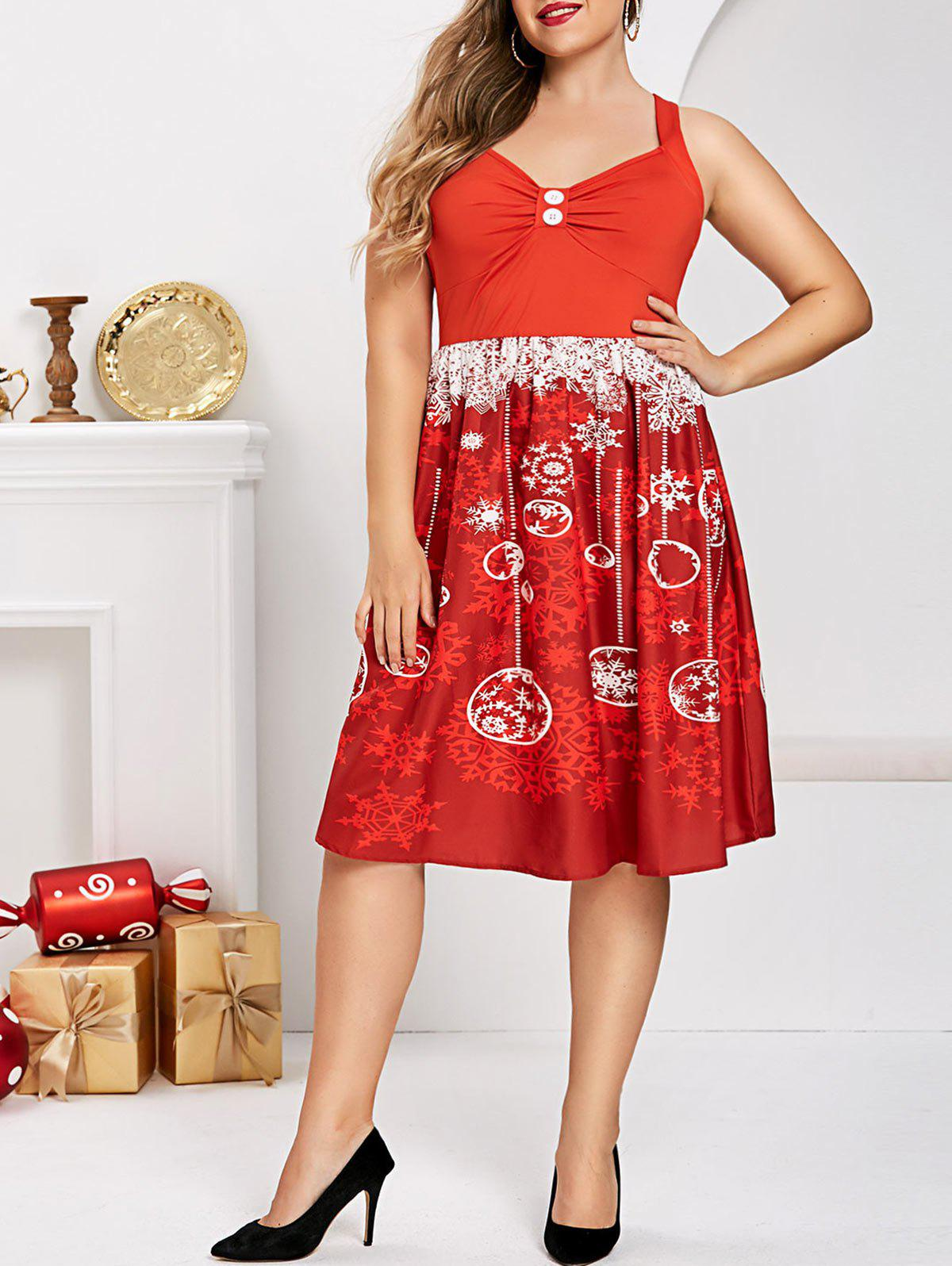 Latest Plus Size Christmas Snowflake Criss Cross Ruched Flared Dress