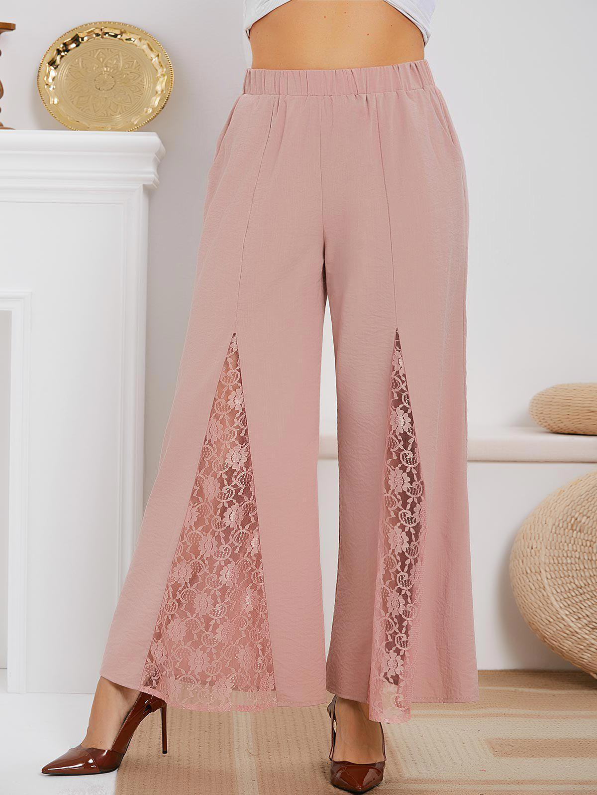 Trendy High Waisted Lace Panel Plus Size Boot Cut Pants