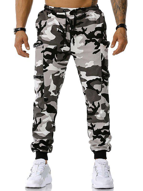 Chic Zipper Pockets Camouflage Print Cargo Pants