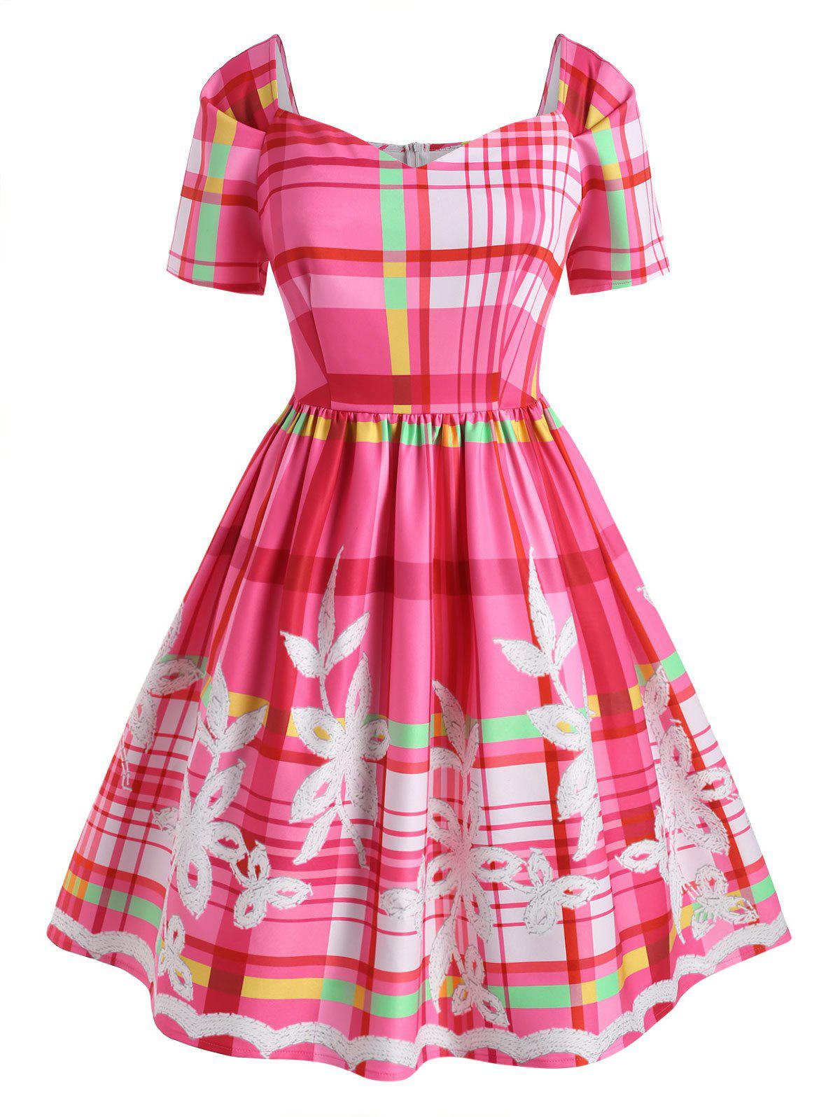 Cheap Plus Size Vintage Plaid Flower Sweetheart Dress