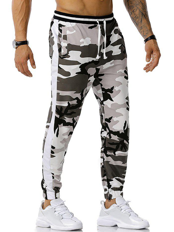 Chic Zipper Slit Camouflage Print Sports Pants
