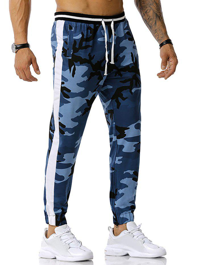 Affordable Zipper Slit Camouflage Print Sports Pants