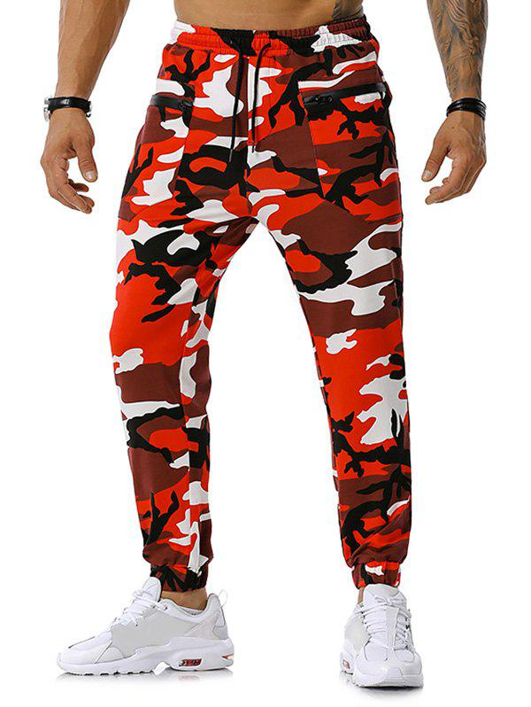 Fashion Camouflage Print Zipper Pockets Sports Pants