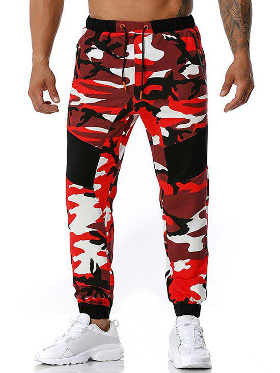 Zipper Pockets Camouflage Print Sports Pants