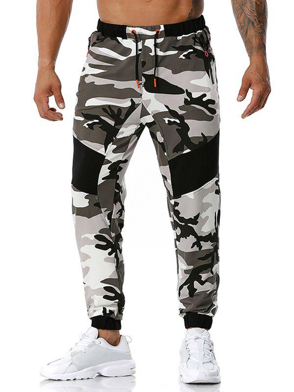 Cheap Zipper Pockets Camouflage Print Sports Pants