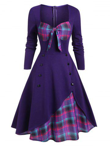 Plaid Button Embellished Bowknot Sweetheart Dress - DULL PURPLE - S
