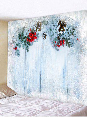 Christmas Decoration Wood Printing Wall Tapestry - POWDER BLUE - W59 X L51 INCH