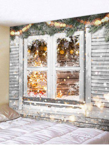 Christmas Printed Wood Window Wall Tapestry - GRAY CLOUD - W91 X L71 INCH