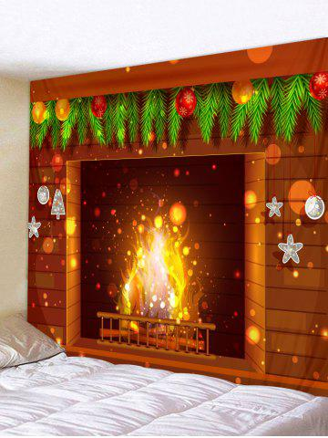 Fireplace Printed Christmas Decoration Wall Tapestry - BROWN - W79 X L71 INCH