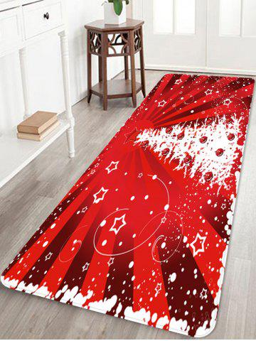 Christmas Tree Star Print Floor Mat - RUBY RED - W24 X L71 INCH