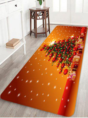 Christmas Tree Gifts Printed Floor Mat - CHOCOLATE - W16 X L47 INCH