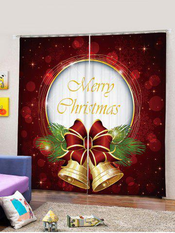 2 Panels Christmas Letter Bell Print Window Curtains