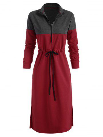 Bicolor Two Tone Drawstring Zip Slit Dress - RED - XL