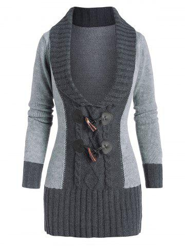 Horn Button Colorblock Plunging Sweater - GRAY - 3XL