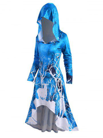 Hooded Christmas Elk Print Lace-up High Low Long Sleeve Dress