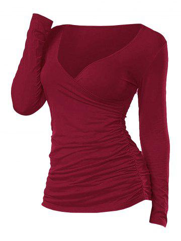 Ruched Plunging Long Sleeve T Shirt - RED - XL