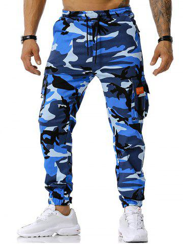 Text Applique Camouflage Print Cargo Pants - BLUE - XL