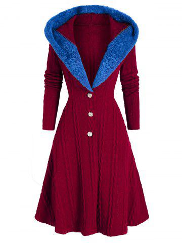 Hooded Faux Fur Insert Lace Up Cable Knit Coat - RED WINE - 3XL